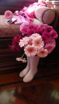 Pink Wellies and Flowers